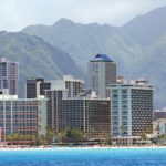 Honolulu skyline along the Waikiki coast
