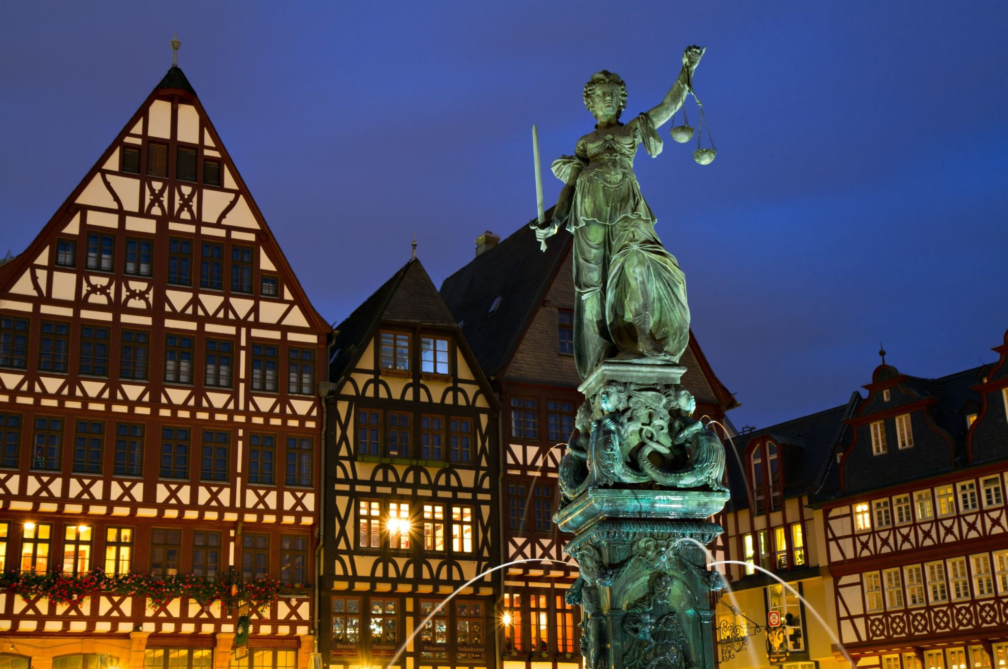 Medieval Timberframe houses and Lady Justice in Frankfurt, Germany