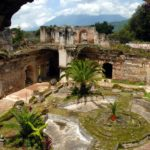 Fountain courtyard of San Francisco Church in Antigua Guatemala