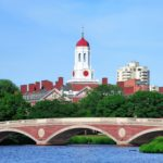 John W. Weeks Bridge and clock tower over Charles River in Harvard University campus in Boston