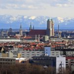 Munich skyline with Alps