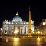 Saint Peter's Square at night in Rome, Italy