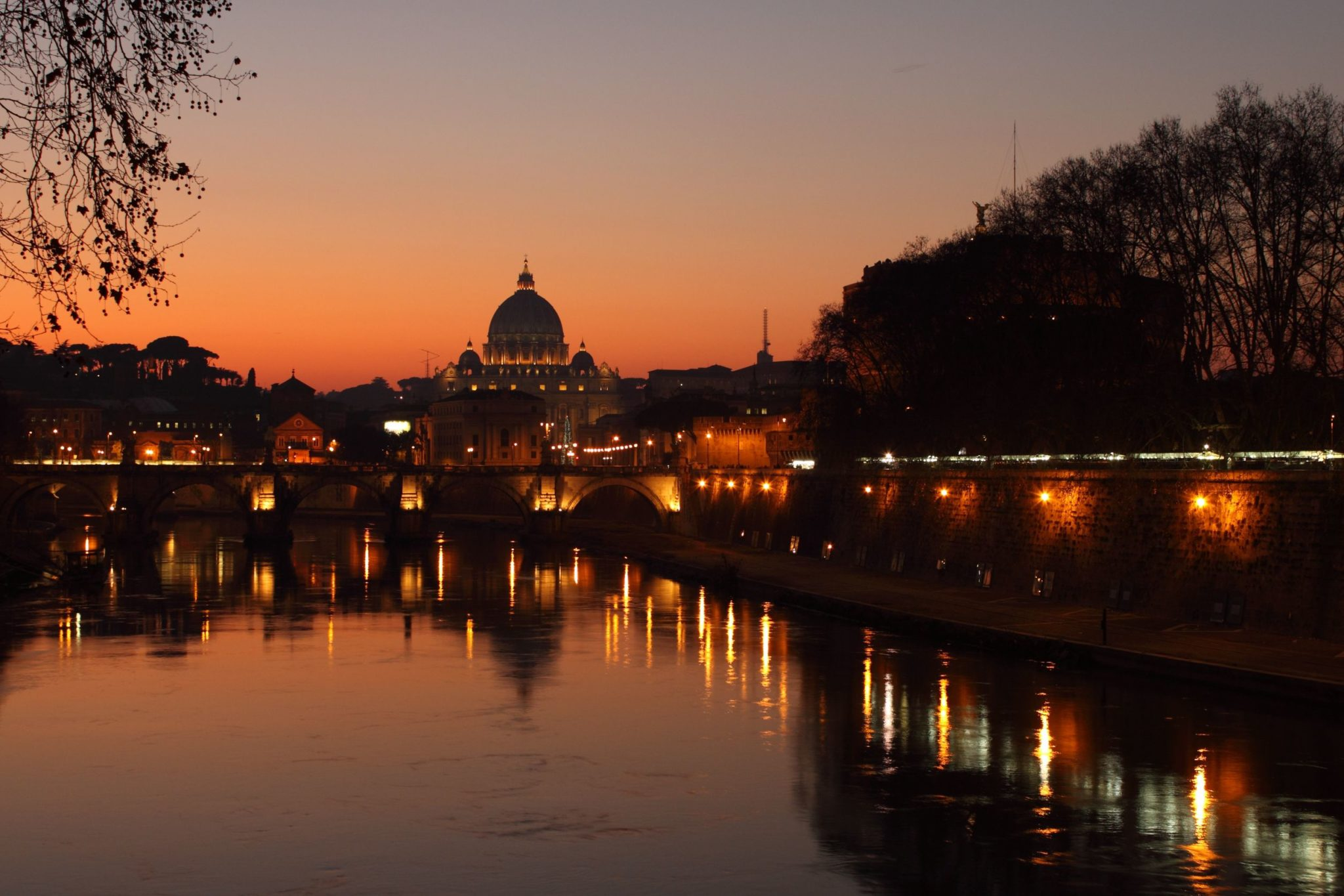 St. Peter's Basilica along the Tiber River near Castel Sant'Angelo in Rome, Italy