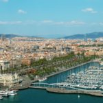 Barcelona skyline including Port Vell, Sangrada Familia and Torre Agbar