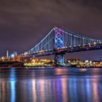 Benjamin Franklin Bridge connecting Philadelphia, Pennsylvania and Camden, New Jersey