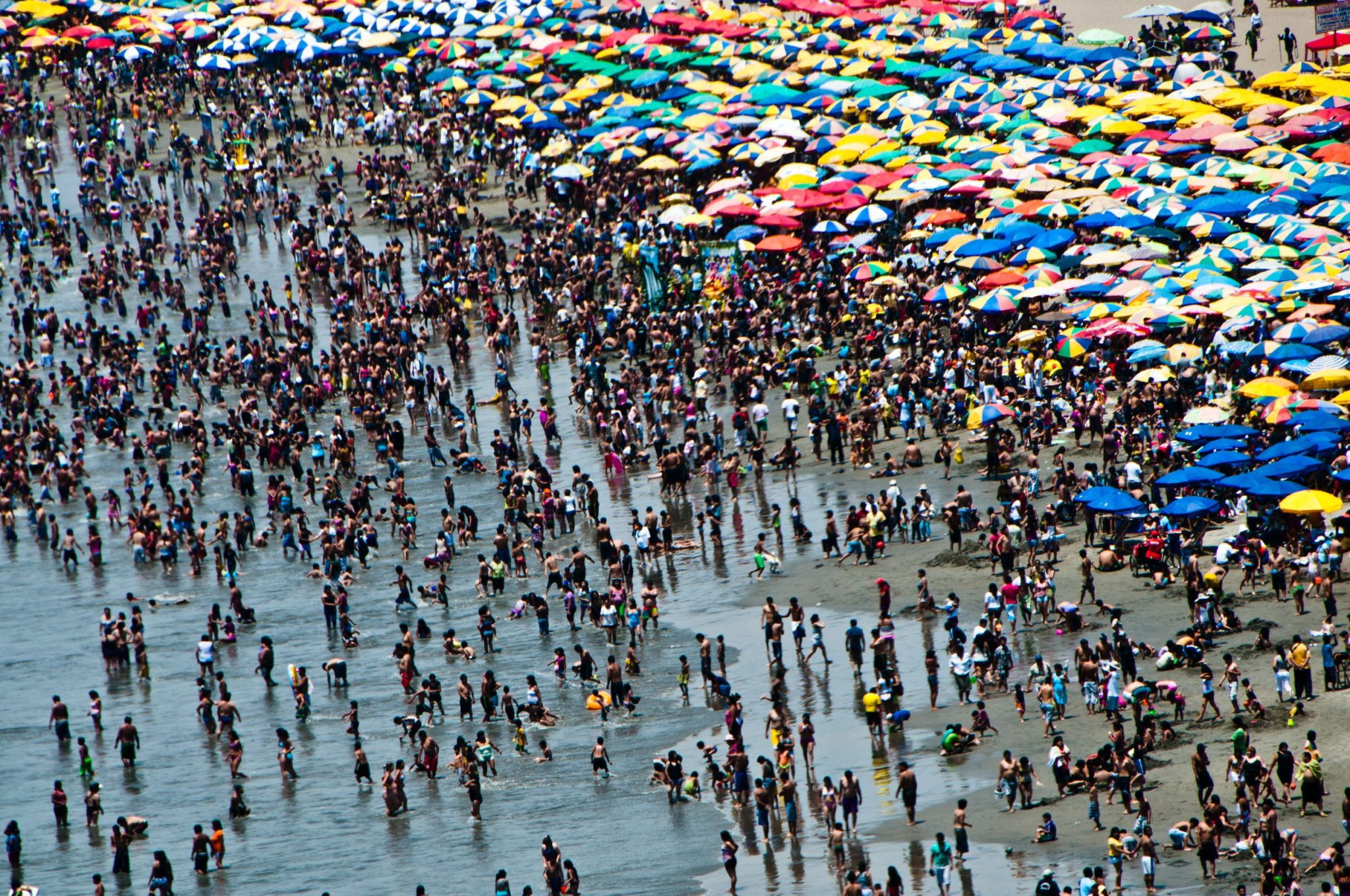 Crowded beach in Lima Peru