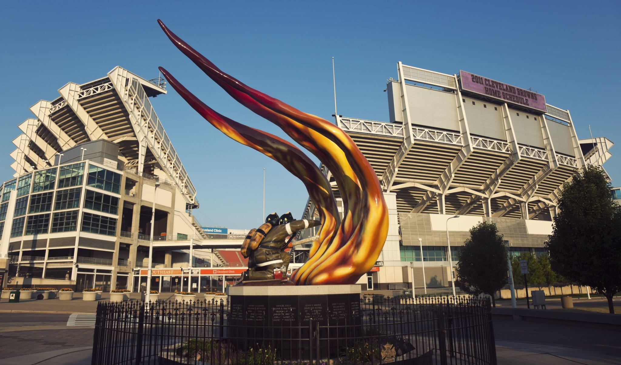 Cleveland Firefighters sculpture in front of the Browns stadium, Ohio