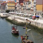 Ribeira district and Douro River in Porto Portugal