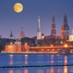 Quay of Daugava river in Riga, Latvia