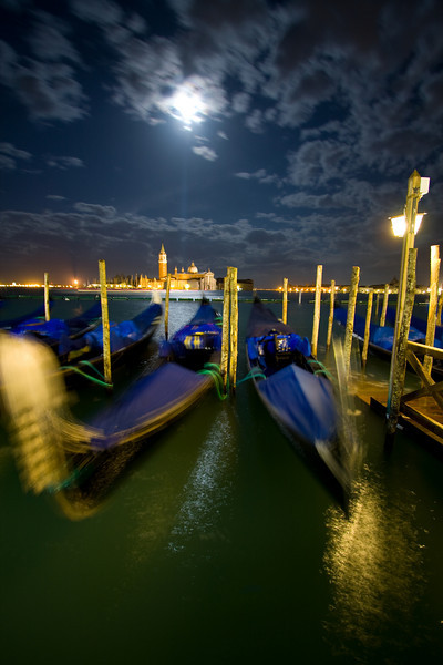 Gondolas at night in Venice