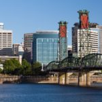 Portland Oregon skyline with Hawthorne bridge crossing the Willamette river