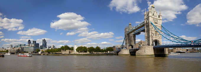 London view of Tower Bridge, the Tower of London and Gherkin