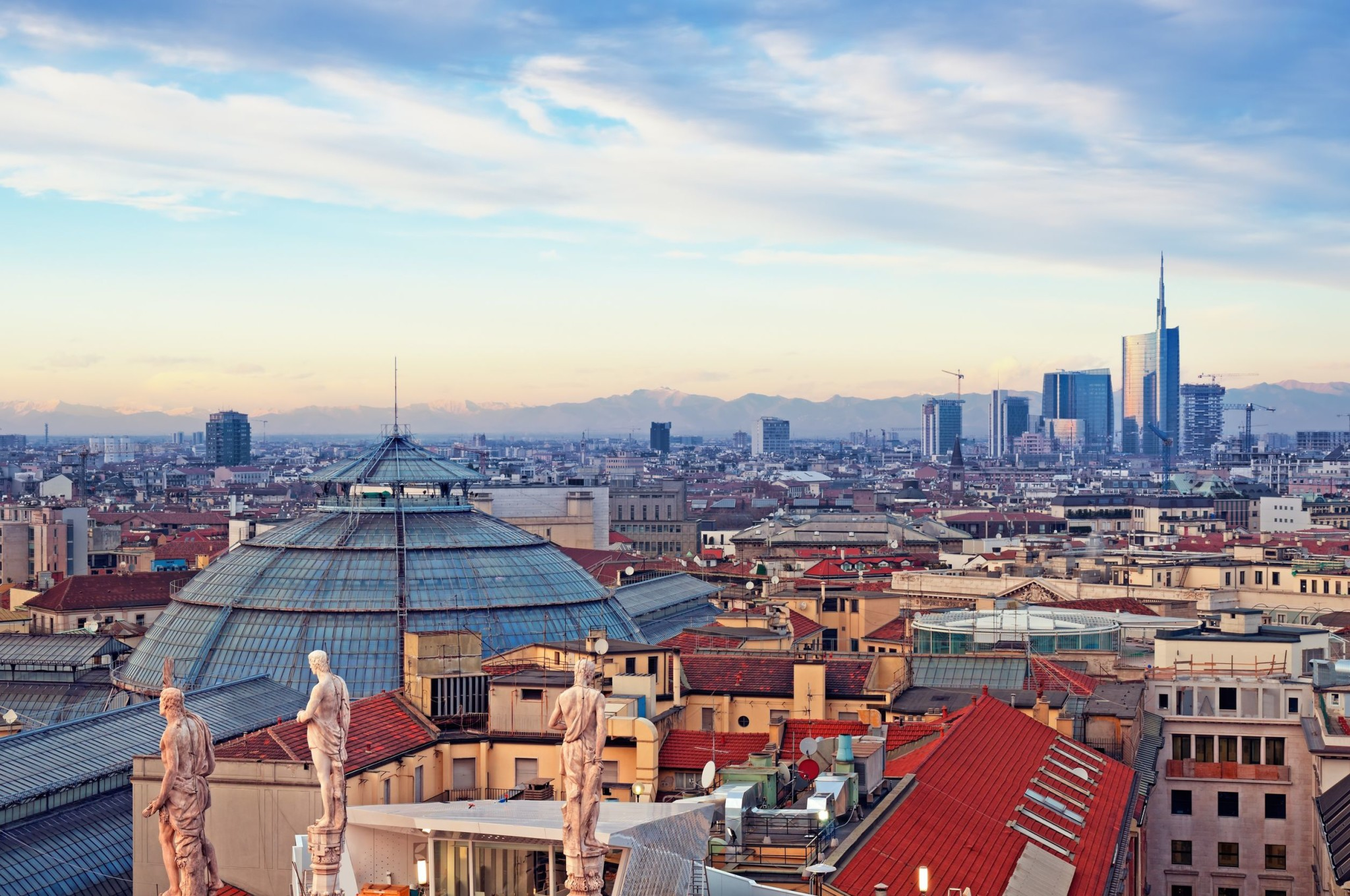 Milan skyline from Milan Cathedral and Duomo di Milano in Italy