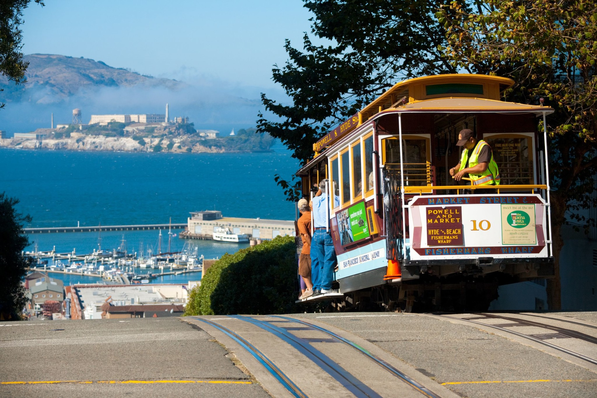 Cable car on top of Hyde Street in San Francisco, California