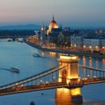 Chain Bridge, Hungarian Parliament and Danube River in Budapest, Hungary