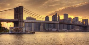 Brooklyn Bridge and Lower Manhattan skyline in New York City, NY