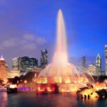 Chicago skyline with Buckingham fountain in Grant Park