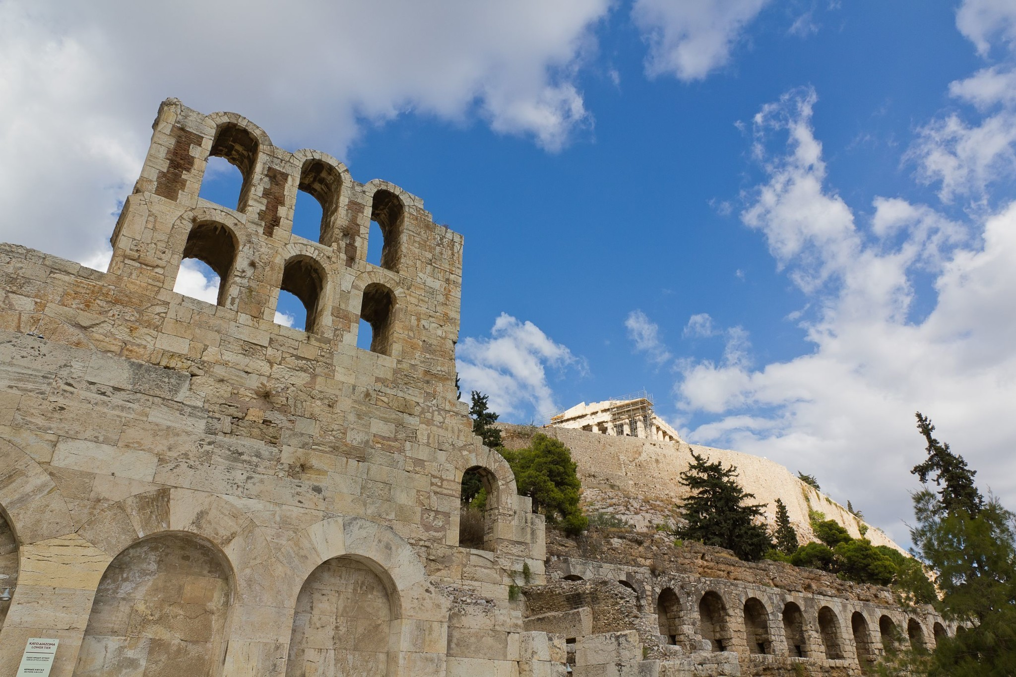 Odeon of Herodes Atticus and Acropolis, in Athens, Greece