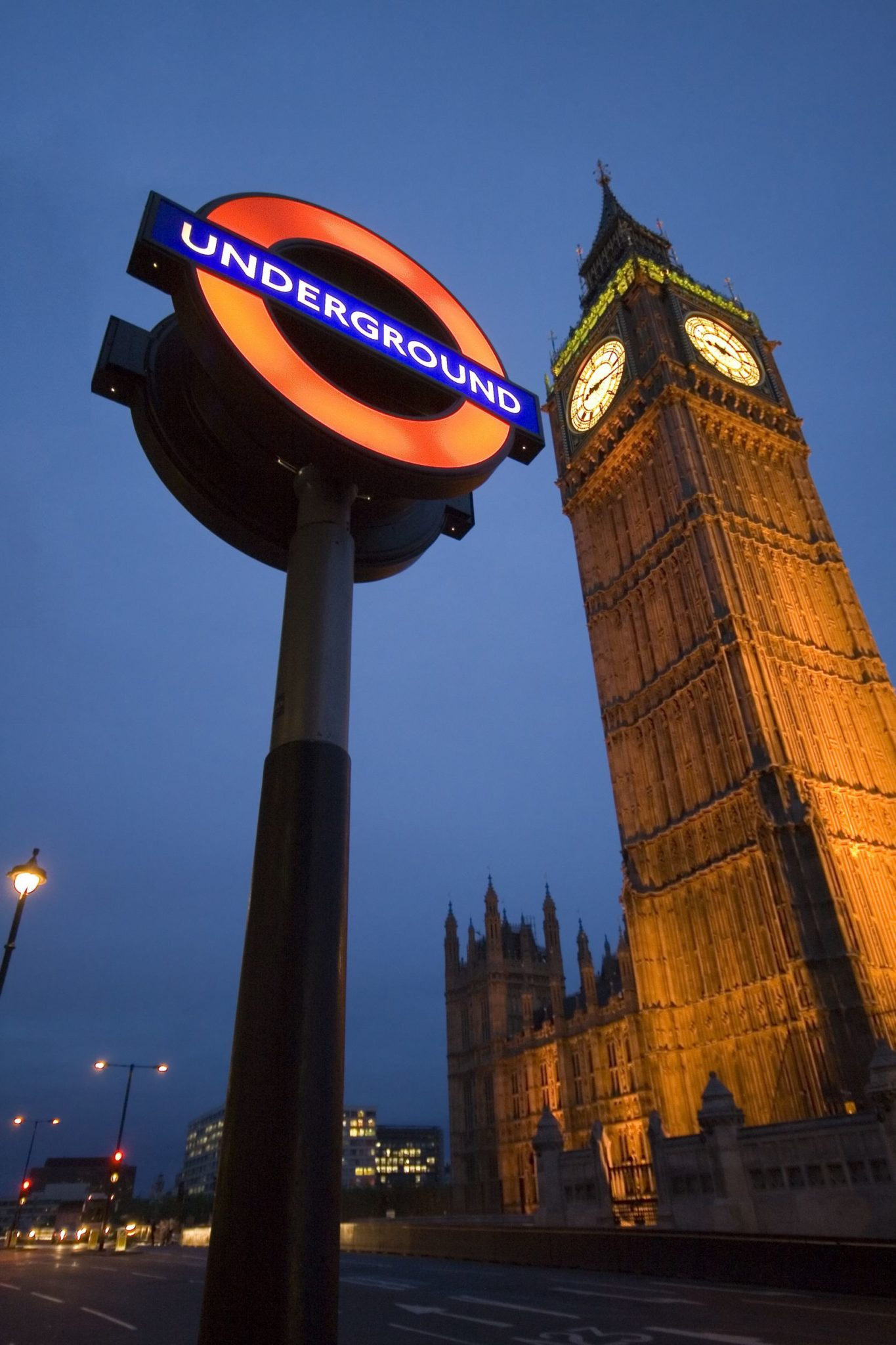 Famous Underground and Big Ben tower