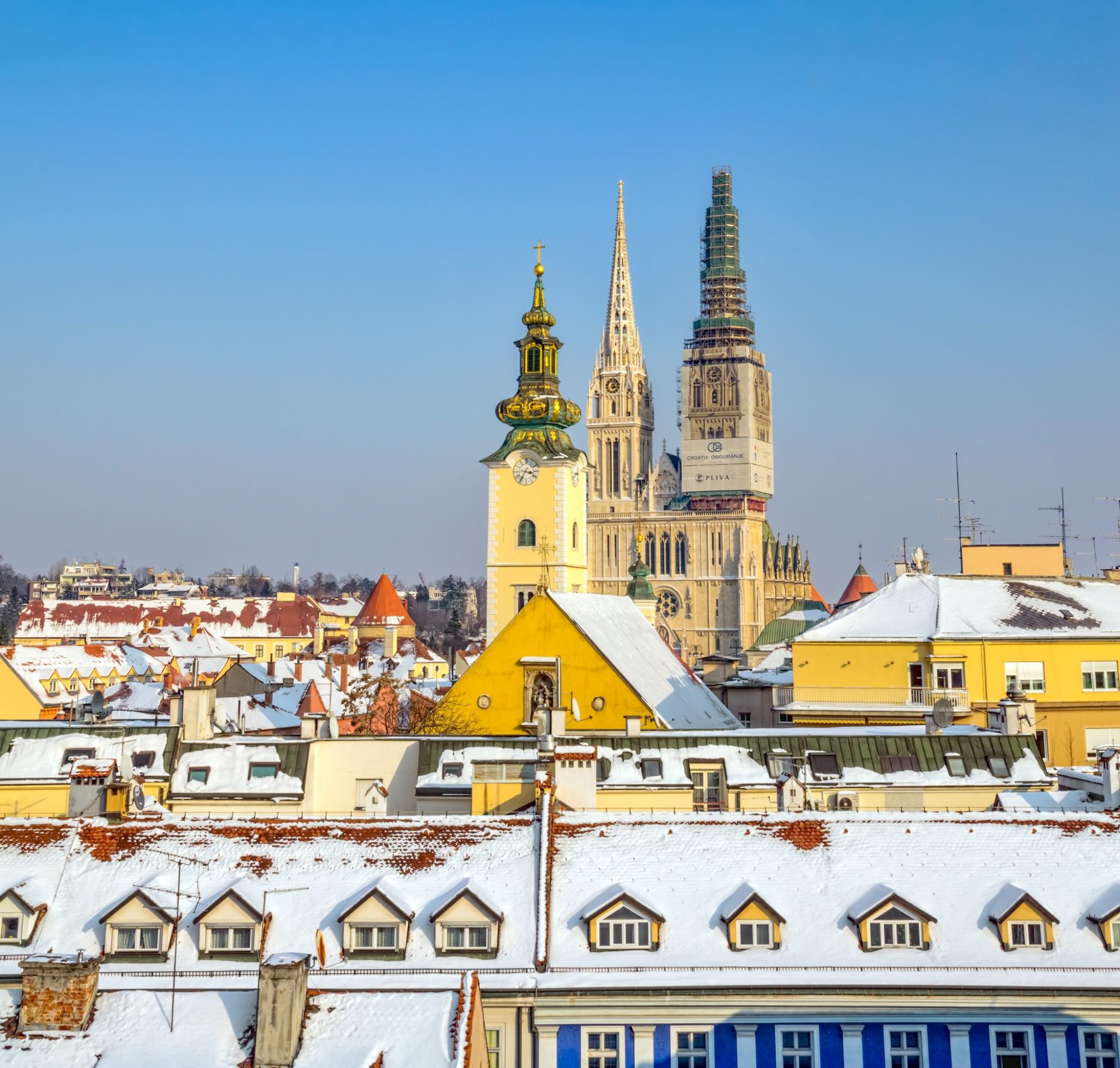 Old town and cathedral from Gradec in Zagreb, Croatia