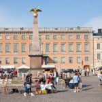 Market Square and stern obelisk of Empress Alexandra in Helsinki, Finland