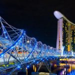 Helix Bridge and Marina Bay Sands Hotel & Casino, Singapore