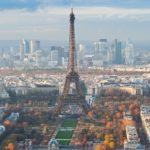 Eiffel Tower and panorama of Paris, France